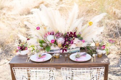 украшение свадебного стола в стиле бохо