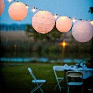 Посмотрите яркие идеи украшения свадьбы бумажными абажурами. Белые или любых праздничных расцветок. Украшеные бумажными или живыми цветами или бабочками, эти