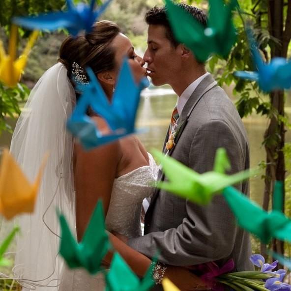 украшение свадьбы оригами