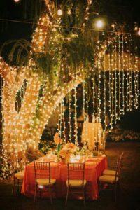 украшение свадьбы световыми гирляндами