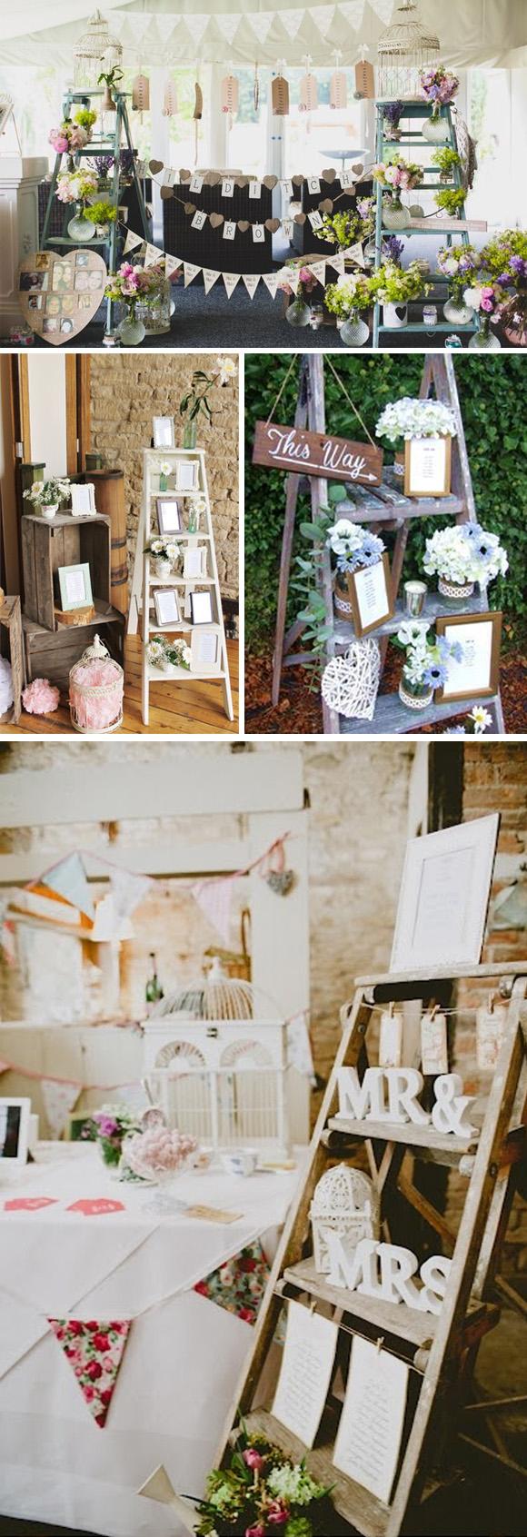 лестницы и стремянки в свадебном декоре